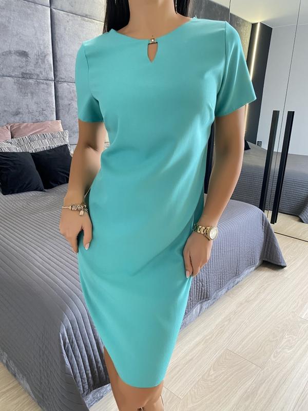 Niebieska sukienka ModnaKiecka.pl z okrągłym dekoltem z krótkim rękawem w stylu casual
