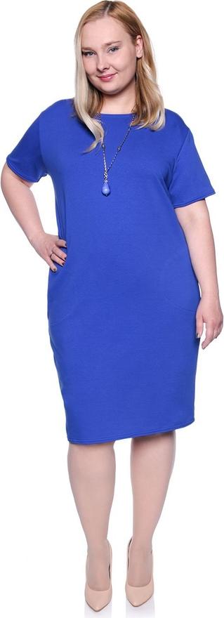 Niebieska sukienka modneduzerozmiary.pl z okrągłym dekoltem z krótkim rękawem midi