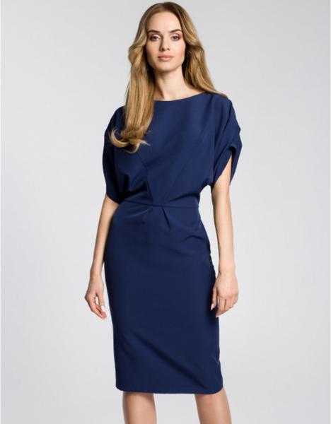 Niebieska sukienka MOE midi z okrągłym dekoltem