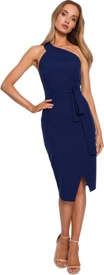 Niebieska sukienka MOE midi z okrągłym dekoltem bez rękawów