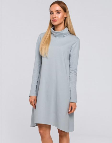 Niebieska sukienka MOE mini z długim rękawem