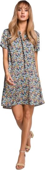 Niebieska sukienka MOE mini z tkaniny z krótkim rękawem