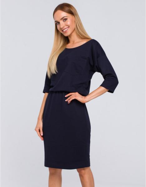 Niebieska sukienka MOE z długim rękawem z bawełny