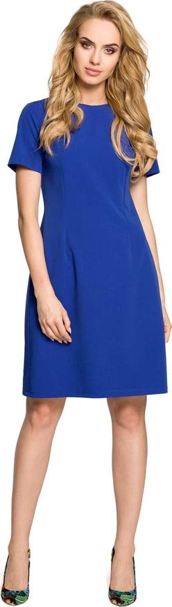 Niebieska sukienka MOE z okrągłym dekoltem mini