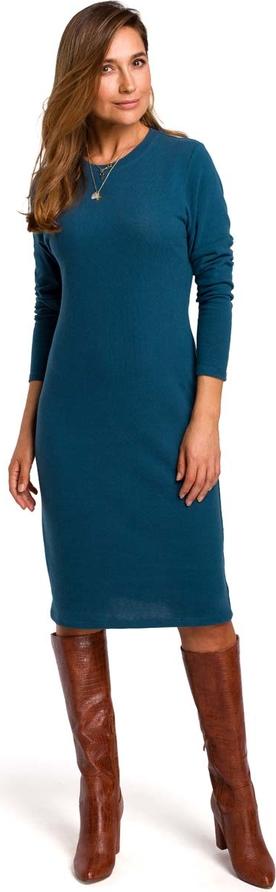 Niebieska sukienka MOE z okrągłym dekoltem z długim rękawem midi