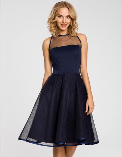 Niebieska sukienka MOE z tiulu