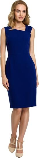 Niebieska sukienka MOE z tkaniny ołówkowa midi