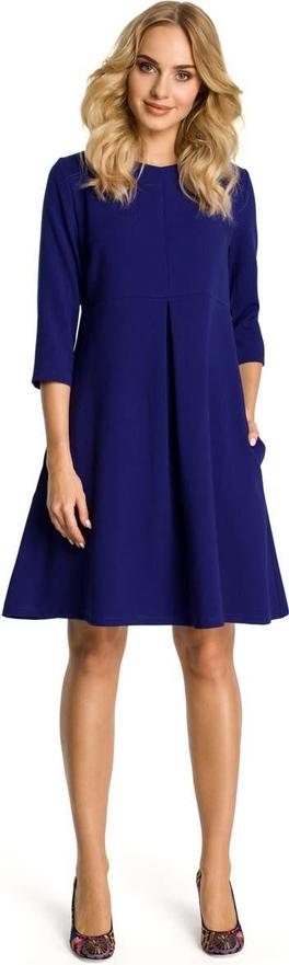 Niebieska sukienka MOE z wełny z okrągłym dekoltem trapezowa