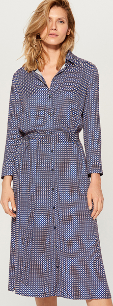 Niebieska sukienka Mohito mini w stylu casual z kołnierzykiem