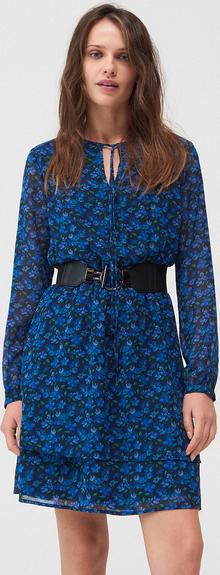 Niebieska sukienka Mohito z szyfonu z długim rękawem