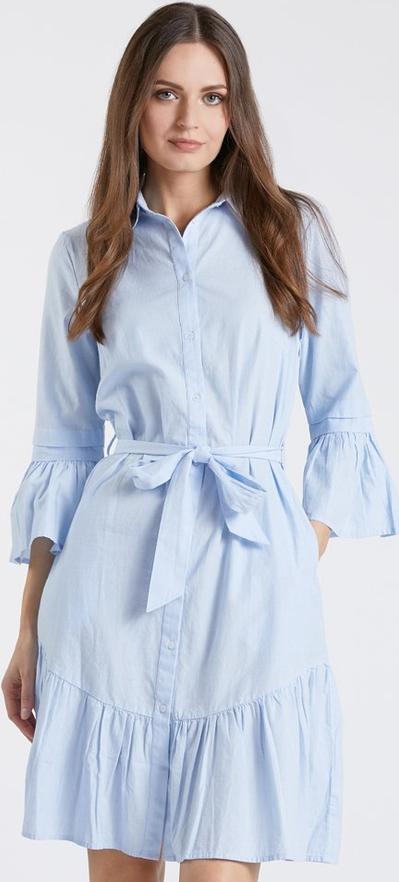 Niebieska sukienka Monnari z długim rękawem z kołnierzykiem mini