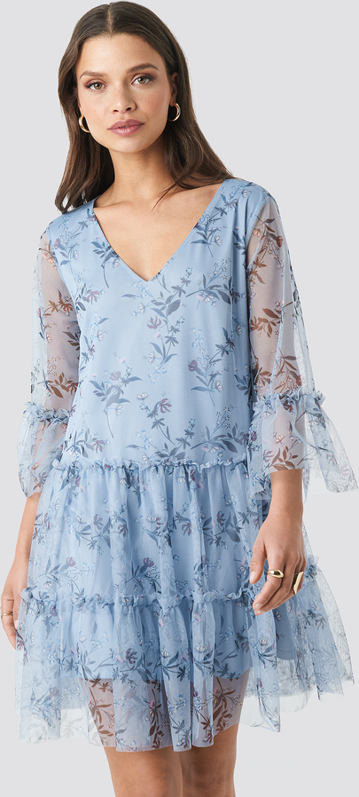 Niebieska sukienka NA-KD mini w stylu casual