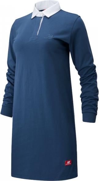 Niebieska sukienka New Balance z bawełny mini z długim rękawem