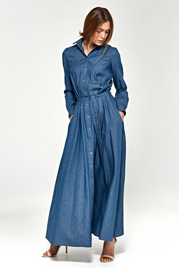 Niebieska sukienka NIFE maxi z bawełny koszulowa