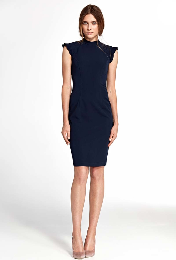 Niebieska sukienka Nife midi dopasowana