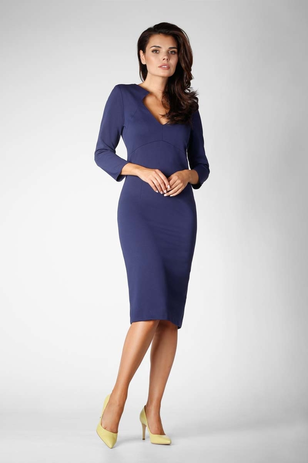 Niebieska sukienka Nommo dopasowana