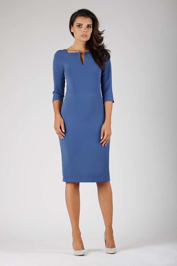 Niebieska sukienka Nommo dopasowana midi