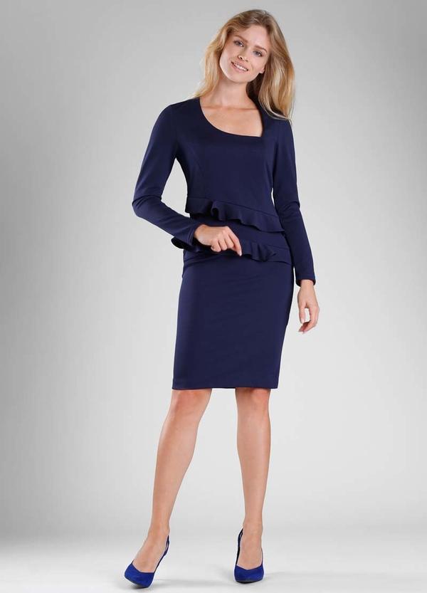 Niebieska sukienka Nommo midi z długim rękawem