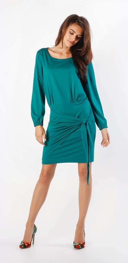 Niebieska sukienka Nommo z bawełny z długim rękawem