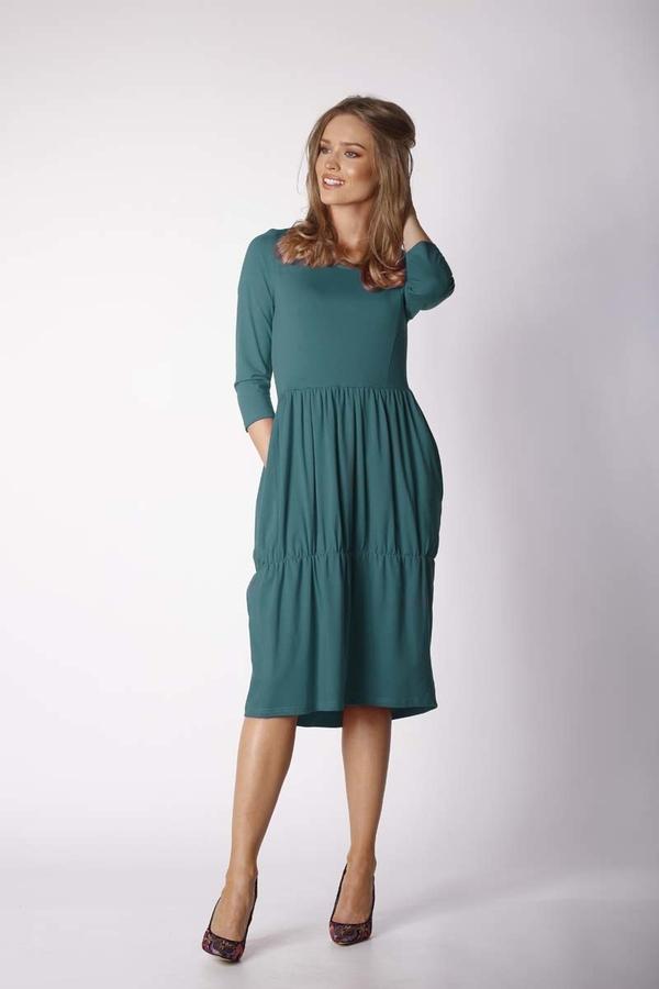 Niebieska sukienka Nommo z bawełny z długim rękawem w stylu casual