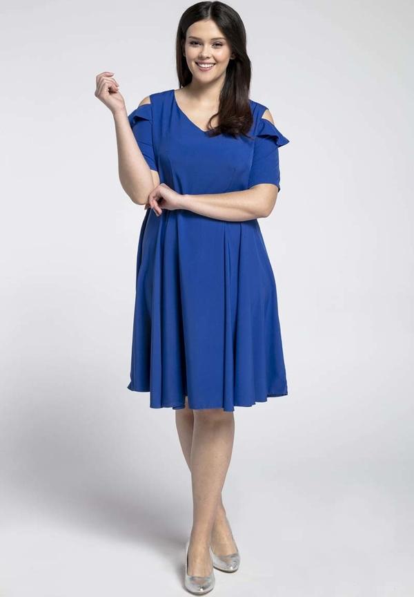 Niebieska sukienka Nommo z dekoltem w kształcie litery v z krótkim rękawem dla puszystych