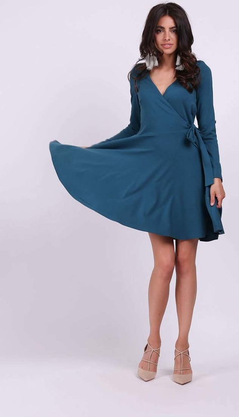 Niebieska sukienka Nommo z długim rękawem