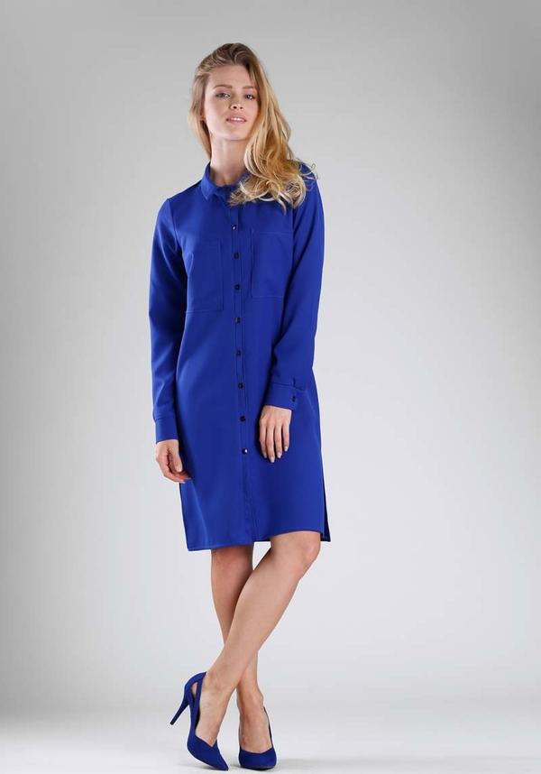 Niebieska sukienka Nommo z kołnierzykiem z długim rękawem mini