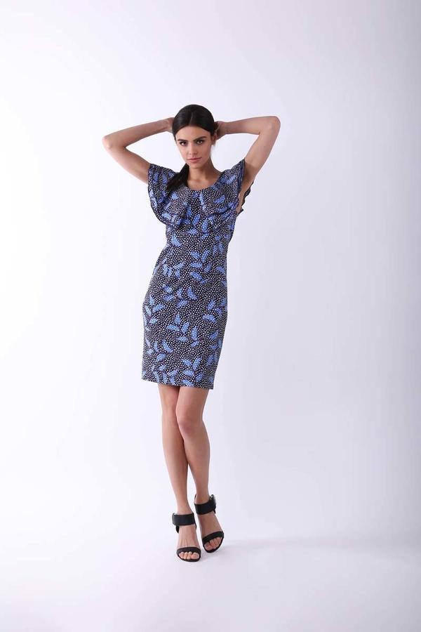 Niebieska sukienka Nommo z krótkim rękawem w stylu casual mini