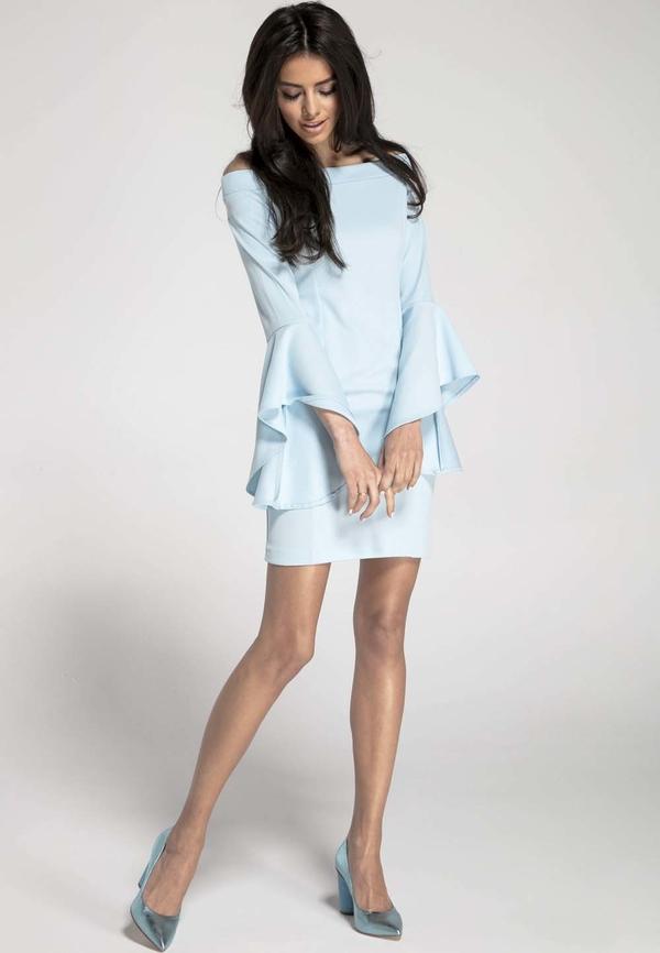 Niebieska sukienka Nommo z okrągłym dekoltem w stylu casual z długim rękawem