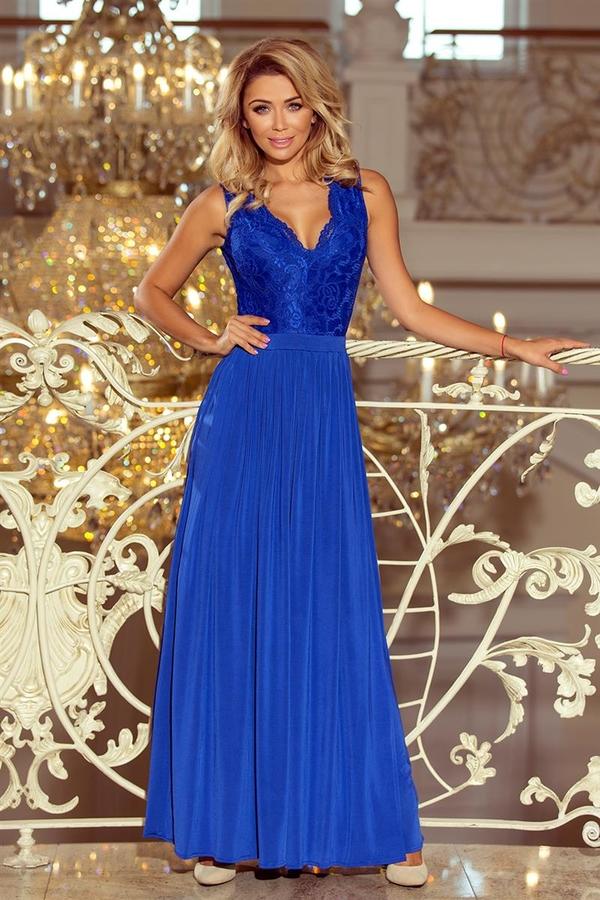 Niebieska sukienka NUMOCO bez rękawów maxi z dekoltem w kształcie litery v