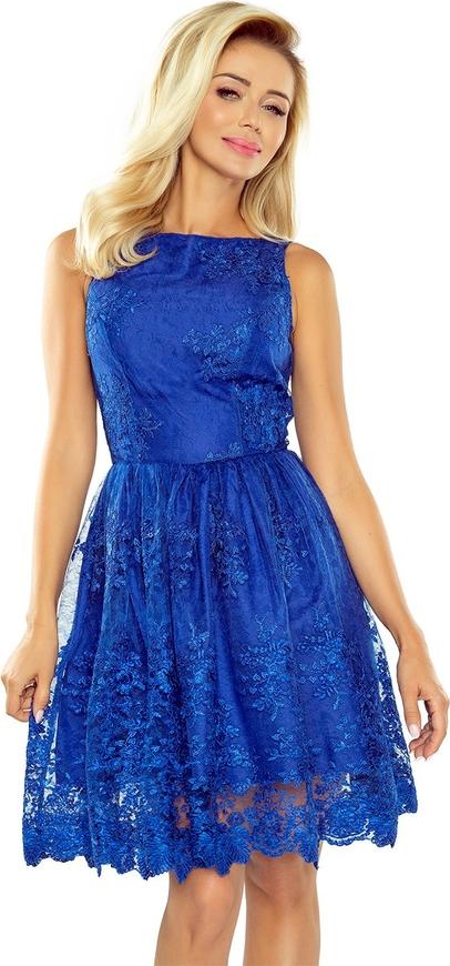 Niebieska sukienka NUMOCO bez rękawów rozkloszowana