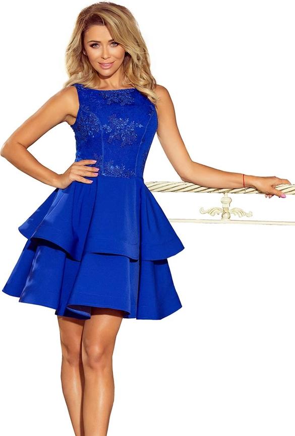 Niebieska sukienka NUMOCO bez rękawów rozkloszowana z dekoltem w łódkę