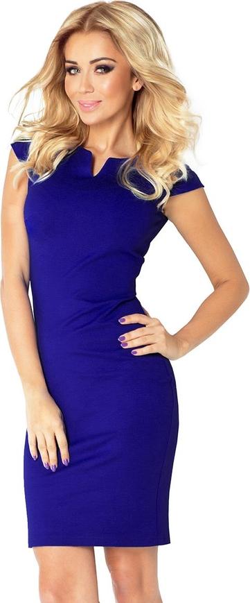 Niebieska sukienka NUMOCO midi z krótkim rękawem ołówkowa