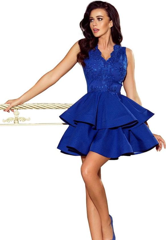 Niebieska sukienka NUMOCO mini rozkloszowana z dekoltem w kształcie litery v