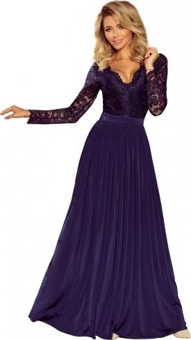 Niebieska sukienka NUMOCO z dekoltem w kształcie litery v maxi rozkloszowana