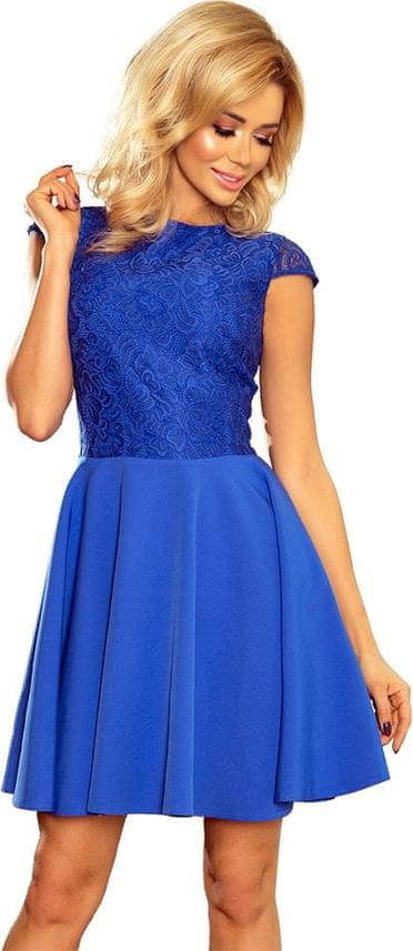 Niebieska sukienka NUMOCO z krótkim rękawem mini rozkloszowana