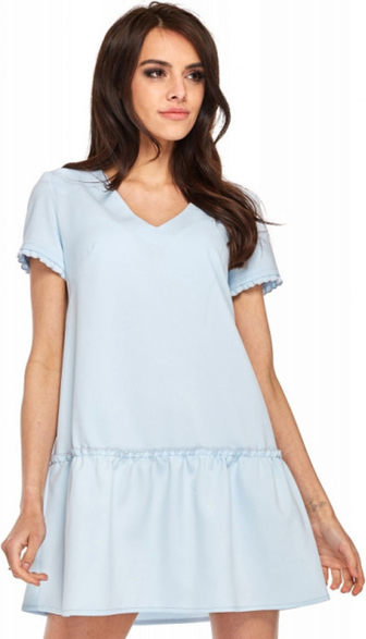 Niebieska sukienka Ooh la la mini z krótkim rękawem