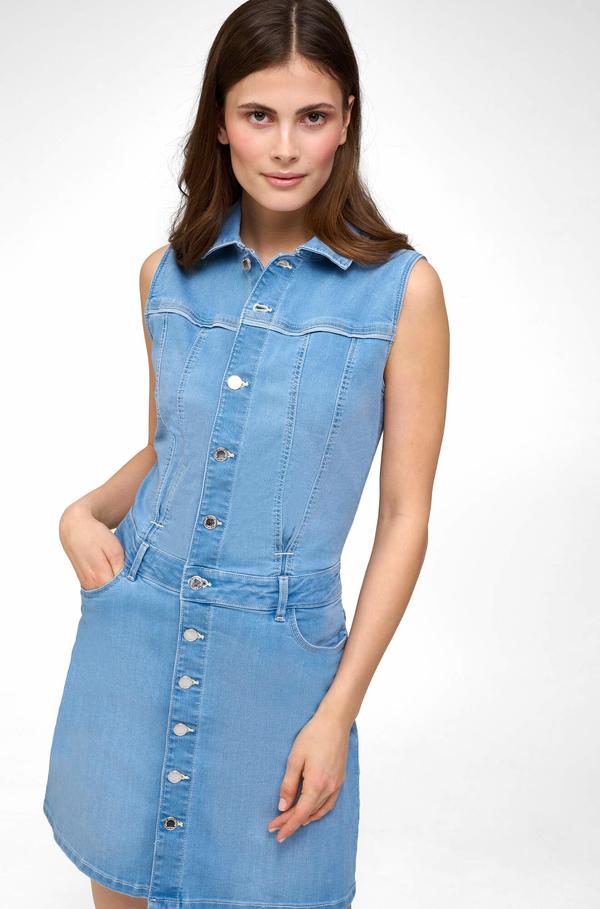 Niebieska sukienka ORSAY koszulowa w stylu casual bez rękawów