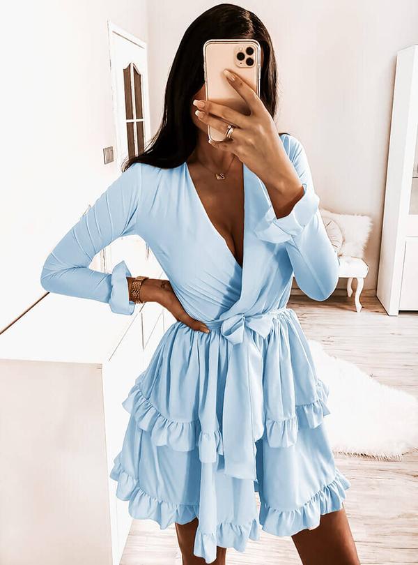 Niebieska sukienka Pakuten mini z długim rękawem