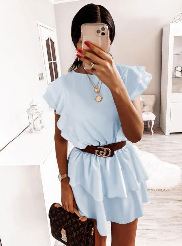 Niebieska sukienka Pakuten z bawełny mini rozkloszowana