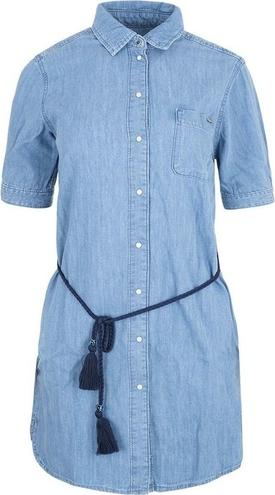 Niebieska sukienka Pepe Jeans w stylu casual z kołnierzykiem z bawełny