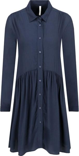 Niebieska sukienka Pepe Jeans z długim rękawem z kołnierzykiem mini
