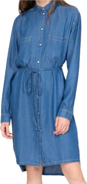 Niebieska sukienka Pepe Jeans z jeansu z długim rękawem mini