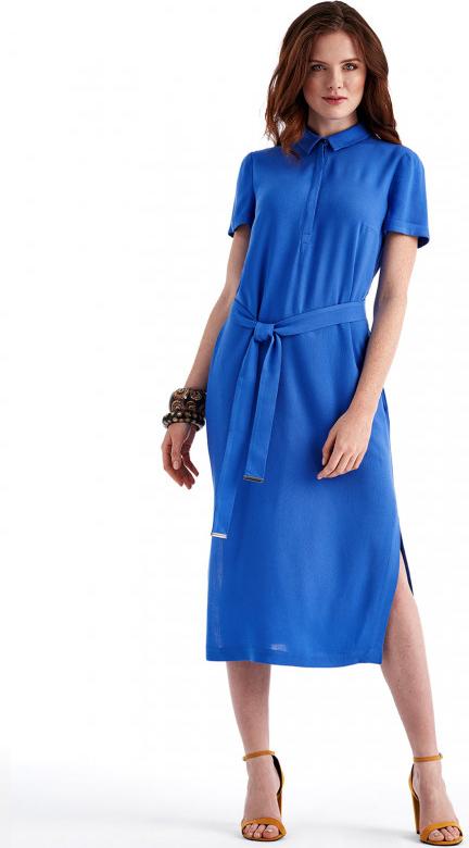 Niebieska sukienka POTIS & VERSO z krótkim rękawem z kołnierzykiem