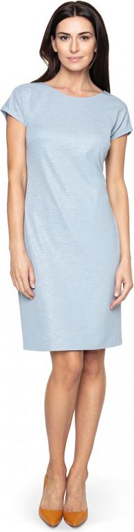 Niebieska sukienka POTIS & VERSO z krótkim rękawem z tkaniny