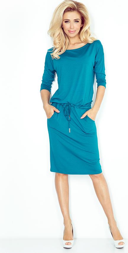 Niebieska sukienka Ptakmoda.com midi prosta z długim rękawem