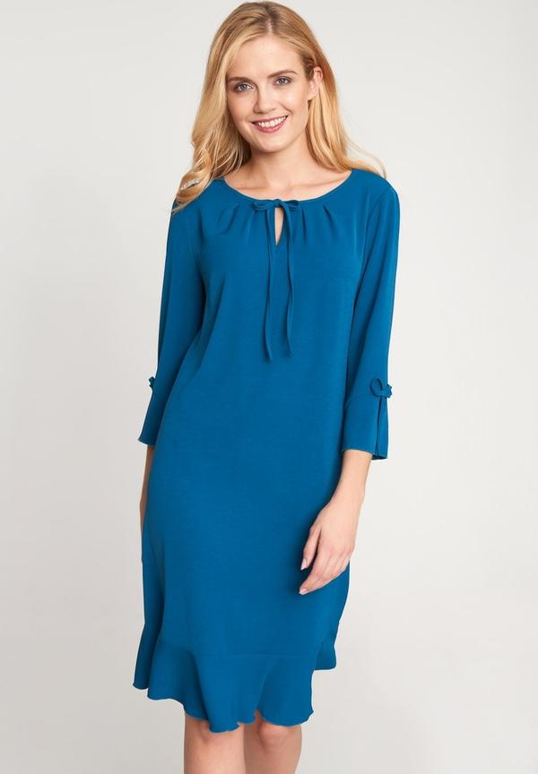 Niebieska sukienka QUIOSQUE mini z długim rękawem z okrągłym dekoltem