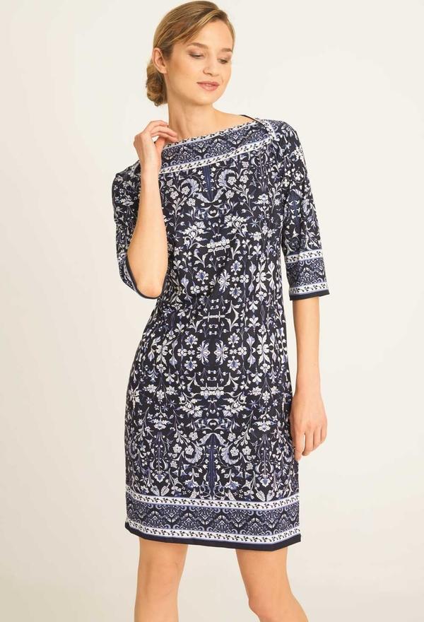 Niebieska sukienka QUIOSQUE z długim rękawem w stylu casual prosta