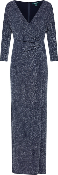 Niebieska sukienka Ralph Lauren z długim rękawem maxi