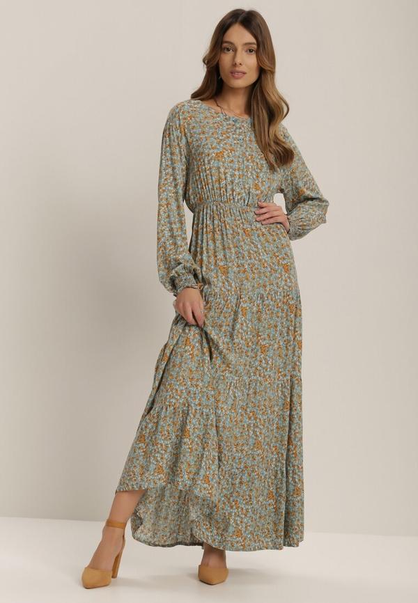 Niebieska sukienka Renee maxi z długim rękawem